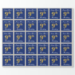 [ Thumbnail: Elegant, Blue, Faux Gold 9th Birthday; Custom Name Wrapping Paper ]