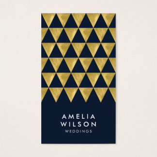 Elegant Blue Faux Gold Triangle Modern Vertical Business Card