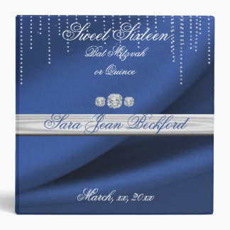 Elegant Blue, Faux Satin, Diamonds, Custom 3 Ring Binder