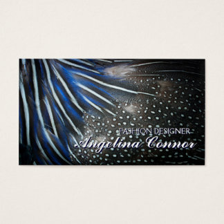 Elegant Blue Feather Fashion Designer Card