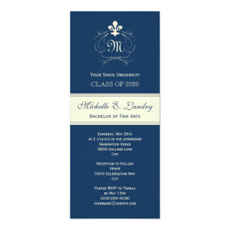 Elegant Blue Fleur de Lis Formal Graduation Card