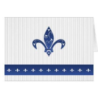 Elegant Blue Fleur de Lis Thank You Card