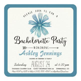 Elegant Blue Floral Bachelorette Party Invitation