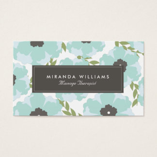 Elegant Blue Floral Business Cards