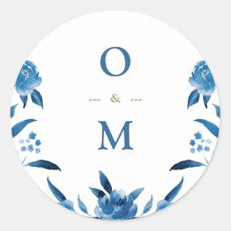 Elegant blue floral Chinoiserie Wedding monogram Classic Round Sticker