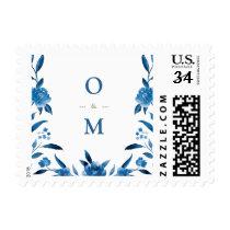 Elegant blue floral Chinoiserie Wedding monogram Postage