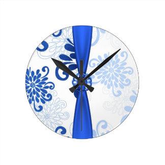 Elegant Blue Floral Damask Ribbon Clock