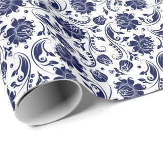 Elegant Blue Floral Damasks White Background Wrapping Paper