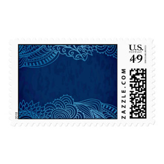 Elegant Blue floral design Postage Stamp