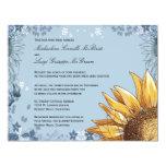 Elegant Blue Floral Formal Wedding Invite