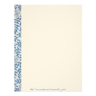 Elegant Blue Floral Garden Letterhead