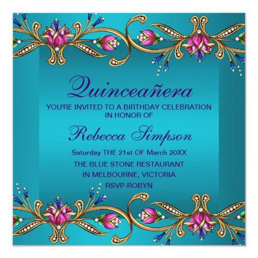Elegant Blue Floral Gem Quinceañera Invite