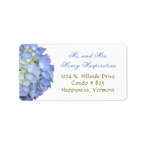 Elegant Blue Floral Hydrangea Wide Label