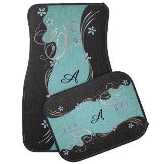 Elegant Blue Floral Monogram Design Car Mat