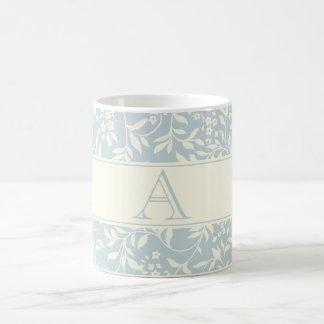 Elegant Blue Floral Pattern Custom Monogram Mug