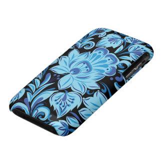 Elegant Blue Floral Patterns on black background iPhone 3 Case-Mate Case
