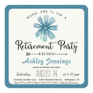 Elegant Blue Floral Retirement Party Invitation