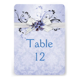 Elegant Blue Floral Ribbon Damask Table card