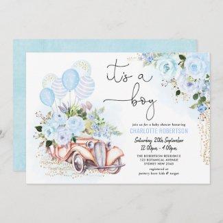 Elegant Blue Floral Baby Boy Shower Invitation with Vintage Car