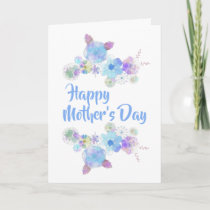 Elegant Blue Floral Watercolor Mother's Day Card