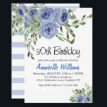 """Elegant Blue Floral Watercolor Stripes Birthday Invitation<br><div class=""""desc"""">The design features a light and dark floral watercolor flower bouquet and a white and blue stripe pattern background at the back of the card.</div>"""