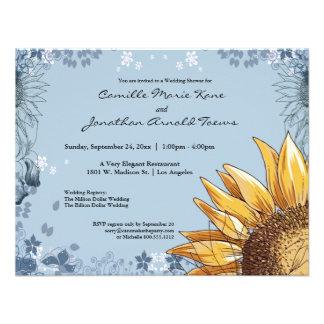 Elegant Blue Floral Wedding Shower Invite