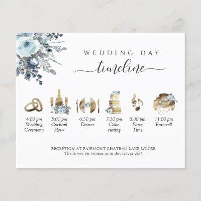 Elegant  Blue Floral Wedding Timeline and Program