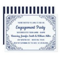 Elegant Blue flourish swirl frame engagement party Invitation