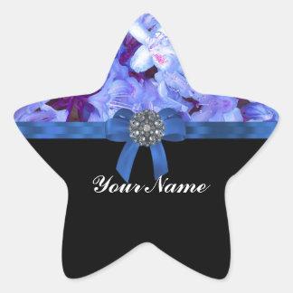 Elegant blue flower & bow star sticker