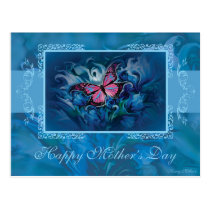 Elegant Blue Flowers & Butterfly Postcard