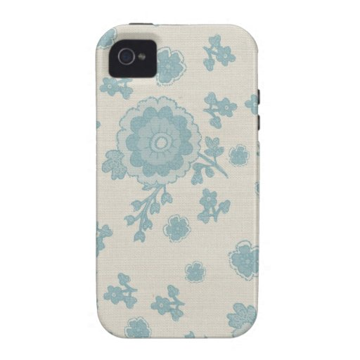 Elegant Blue Flowers Case-Mate iPhone 4 Covers
