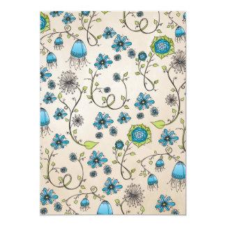 Elegant blue flowers on beige context card