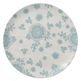 Elegant Blue Flowers Plate