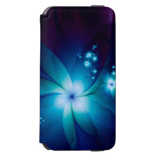 Elegant blue Fractal Flowers iPhone 6/6s Wallet Case
