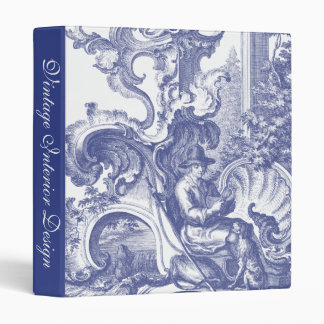 Elegant Blue French Baroque Toile 3 Ring Binder