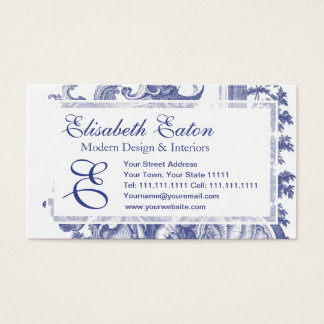Elegant Blue French Baroque Toile Business Card