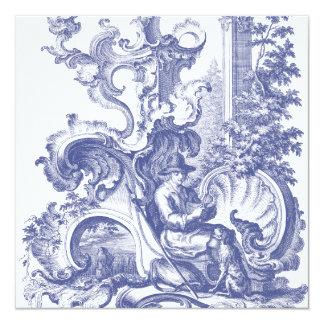 Elegant Blue French Baroque Toile Card
