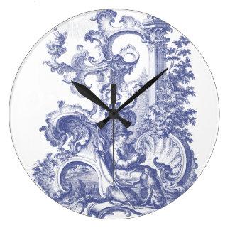 Elegant Blue French Baroque Toile Wall Clocks