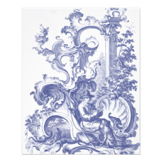 Elegant Blue French Baroque Toile Flyer