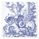 Elegant Blue French Baroque Toile 5.25x5.25 Square Paper Invitation Card