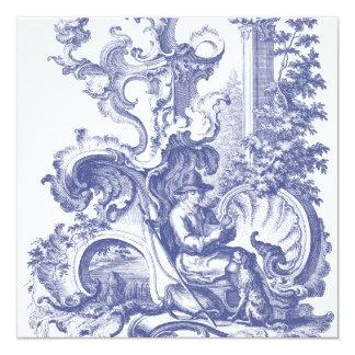 Elegant Blue French Baroque Toile Custom Invitation