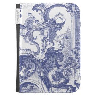 Elegant Blue French Baroque Toile Kindle Case