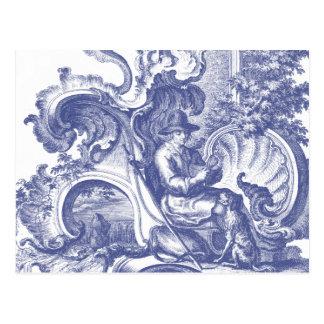Elegant Blue French Baroque Toile Postcard