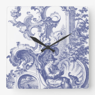 Elegant Blue French Baroque Toile Square Wall Clock