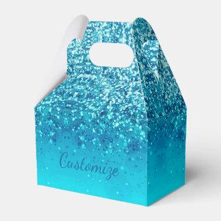 Elegant Blue Frost Sparkle Gable Favor Box