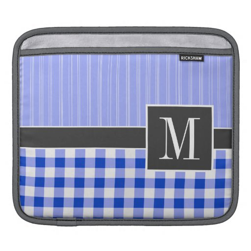 Elegant Blue Gingham; Checkered Sleeve For iPads