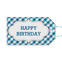 Elegant Blue Gingham Pattern Personalized Birthday Gift Tags