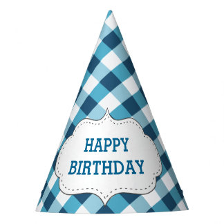 Elegant Blue Gingham Pattern Personalized Birthday Party Hat