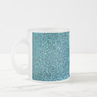 Elegant blue glitter frosted glass coffee mug
