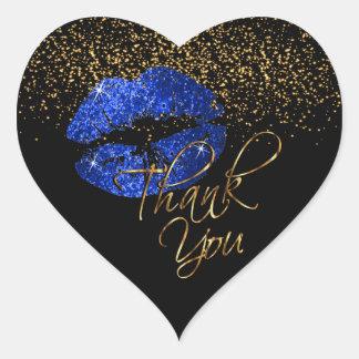 Elegant Blue Glitter Lipcolor - Thank You Heart Sticker